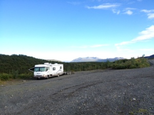 Camping at one of the many pull-outs on the Denali Highway.