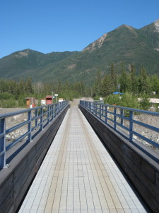 The footbridge to McCarthy.  On the other side you pick up a shuttle up to the mine.