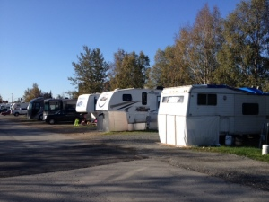 The main half of the park in late September, some residents are starting to winterize their rigs.