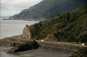 Photo Courtesy of ADN.  Traffic backed up for miles from an accident on Turnagain Arm.