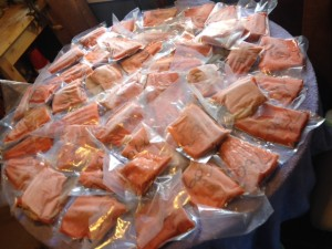 This is over 50# of professionally processed salmon.