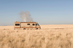 Photo courtesy of Breaking Bad.  It's the closest thing I could find to a smoking motorhome.  Yes, I know it was a completely different thing smoking inside this RV.