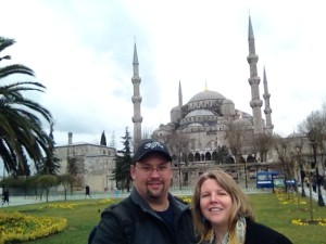 Taking a selfie in front of the Blue Mosque.