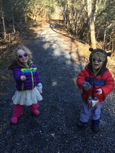 Our little friends Opal and Nova and avid birders on the Tonsina Trail.