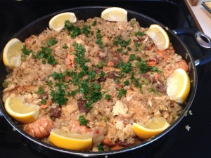 The finished products. Spanish Paella - Alaska Style.