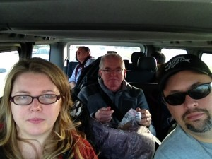The gang all piled in the van.