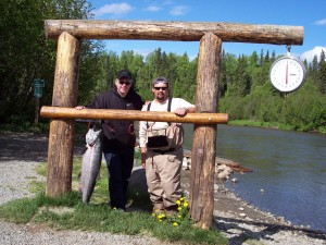 One of my fishing clients and his king salmon.