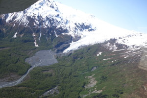 Looking back on Exit Glacier while flying down Resurrection Canyon.