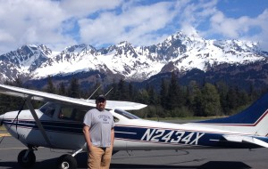 Ben after our flight seeing trip.  See Mt. Alice in the background.