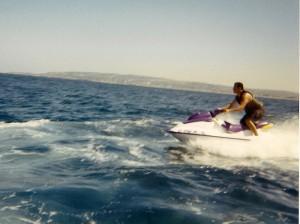 Circa mid 1990's, riding my jet ski off the coast of San Diego.